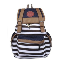New Hotsale Cheap Products Women Girl Striped Canvas Backpack Leisure  School Backpacks For Teenagers Travel Rucksack(China (Mainland))