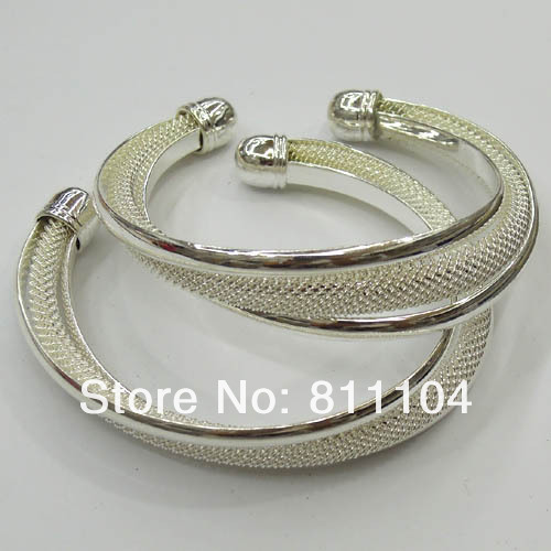 65mm New Silver Plated Brass Blank Mesh Bases cuff Bracelet Bangle Cameo Settings Wholesale(China (Mainland))