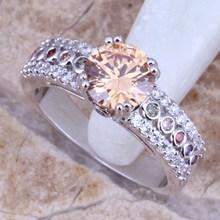 Wedding Multicolor Multigem Morganite Silver Women's Fashion Fine Jewelry Ring Size 6 / 7 / 8 / 9 Free Gift Bag E173(China (Mainland))