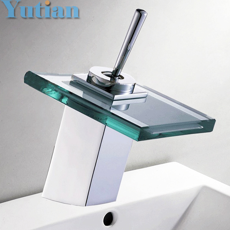 Free shipping Copper Chrome Waterfall Bathroom Faucet Bathroom Basin Hot and Cold Mixer Brass Lavatory Tap torneira YT-5024(China (Mainland))