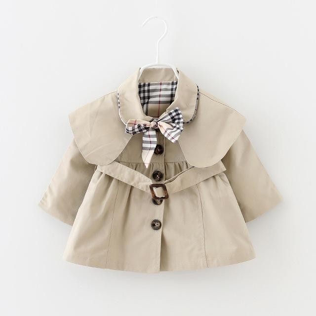 2016 новая весна и осень девочка одежды мода свободного покроя детские пальто девушки 6 - 24 мес. младенческой куртки и пиджаки с поясом и с бантом