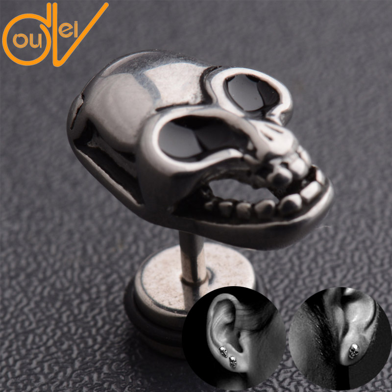 2016 New Arrival Men.Women's Punk Style Cool Skull Skeleton Ghost Silver Plated Titanium Steel Stud Earrings JE021(China (Mainland))