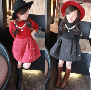 2015 Winter Autumn Baby Kids Girls Dresses Fashion Lovely Dress Girls Long Sleeve Dresses Warm Thick Fleece Clothes Girl 3-8Y(China (Mainland))