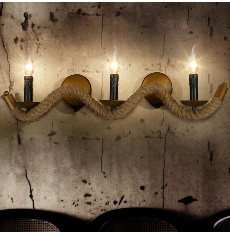 Stone Age vintage rope wall light sconce + 3 candle holders Balcony bedroom Aisle Bar Lamp Restaurant Hotel cafe retro wall lamp<br><br>Aliexpress