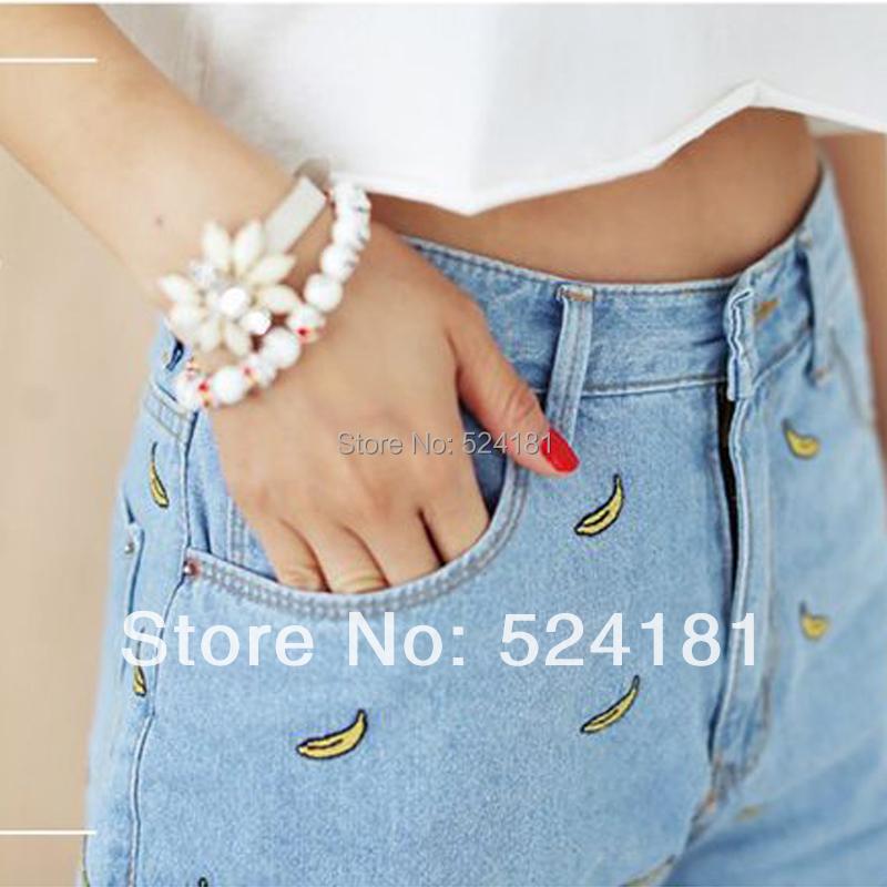 2014 100% cotton embroidery flower high waist roll-up hem casual women's denim shorts ladies short jeans - deli xie's store