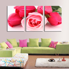 3 Piece Free Shipping Cheap  Modern Wall Painting Red roses Flower Home Decorative Art Picture Paint on Canvas Prints(China (Mainland))