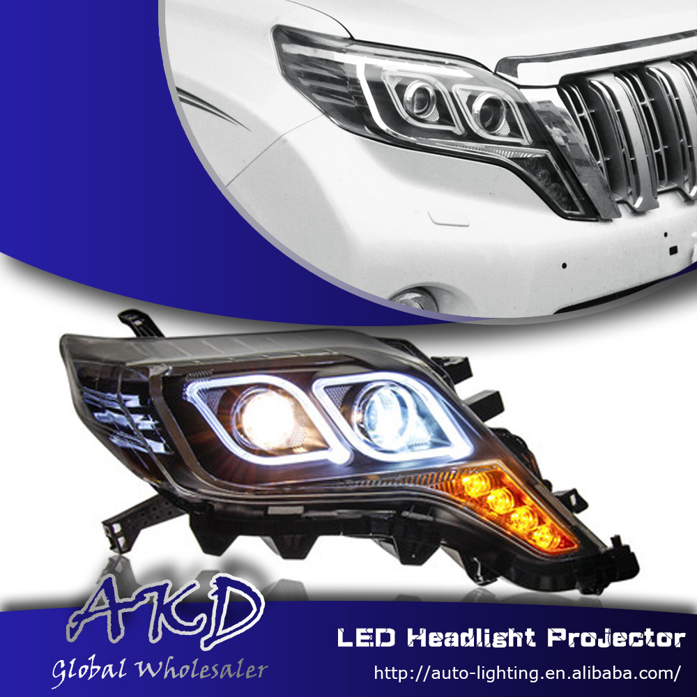 One-Stop Shopping Styling for Toyota Prado LED Headlights 2013-2014 New Prado DRL Lens Double Beam H7 HID Xenon Car Accessories(China (Mainland))
