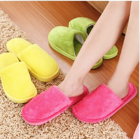 Retail 1 pair solid color men women lovers thickening warm slippers autumn winter plush home nh1101 - Best E-service Store store