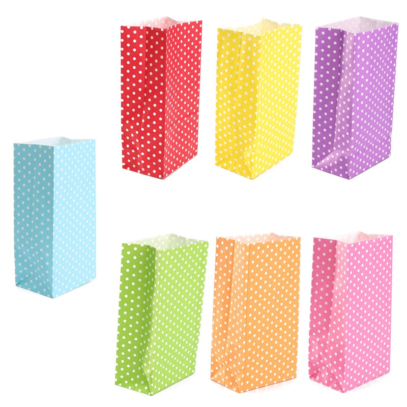 5Pcs Small Colored Dots Wide Bottom Bag Candy Gift Paper Bags Open Top Food Treat Christmas/Kids Birthday Party Packaging Bag(China (Mainland))