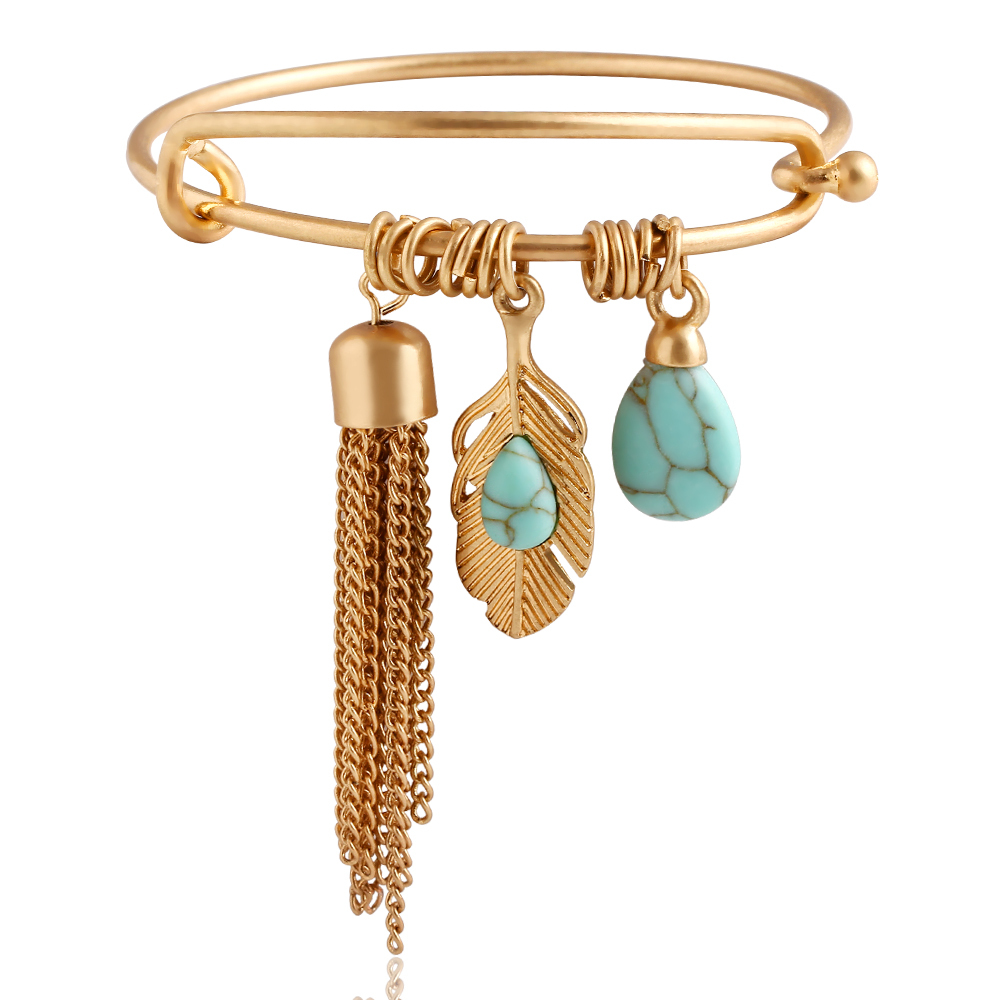 Fashion 2015 Punk Vintage Turquoise Tassel Bangle Alloy Gold Classic Summer Style Leaf Feather Pendant Bangles Fine Jewelry PD26(China (Mainland))
