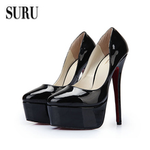 SURU Shoes Women Large Size 12 13 14 E+ Wide Pointed Toe  Metal Stilettos High Heels Shoes Women Plus Size 46 47 45 48  HSM014(China (Mainland))