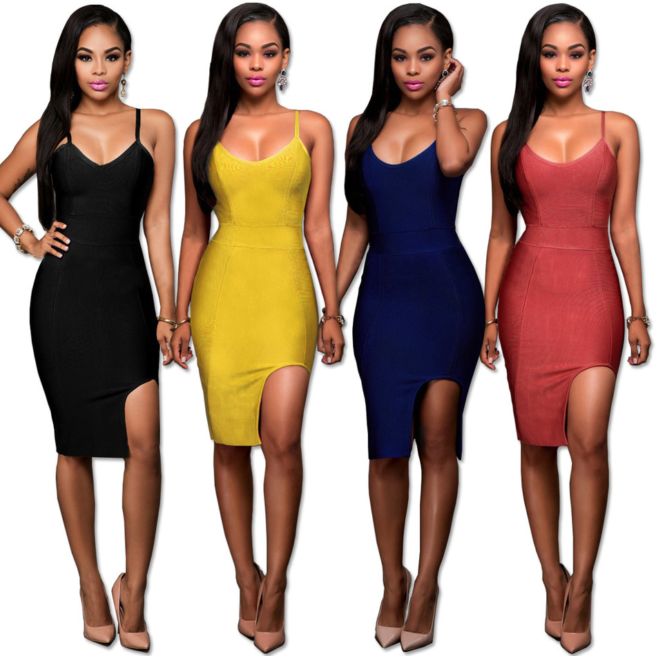2016 Fall Winter Bandage Shit-dress Sexy Camisole for Women Pure Color Feminine Club Dress 2016 Best Price Buy(China (Mainland))