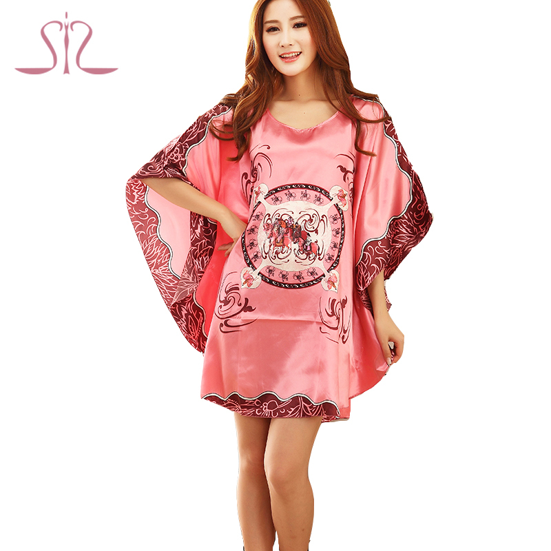 Time-limited Summer Style Women Nightgown 2015 Sleepwear Plus Size Indoor Clothing Faux Silk Robe Home Bathrobe 10211(China (Mainland))