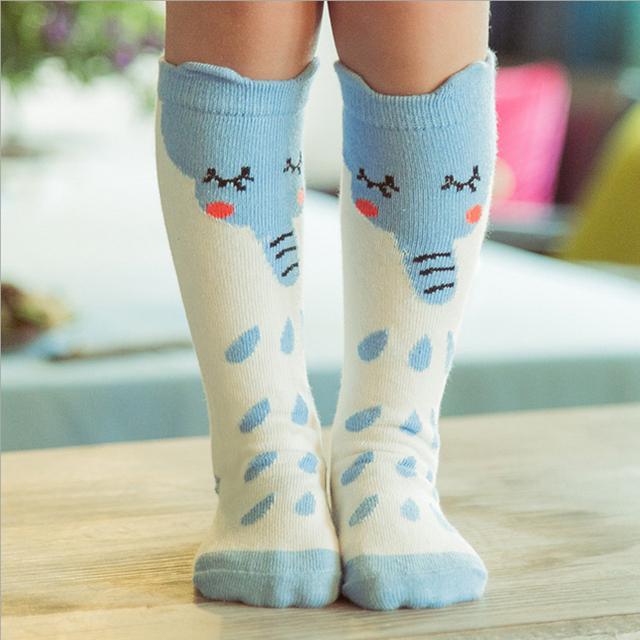 Новые дети осень весна животных носки мышь и синий слон хлопка малыш высокая детская ...