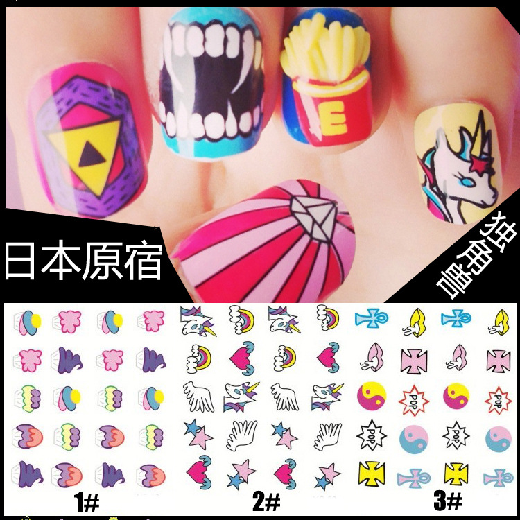2015 Nail Sticker Japan Harajuku Zipper Manicure Water Transfer Printing Watermark Stickers Diy Grams Luo Heart / Unicorn 12 - Fang Decorative Accessories Stores store