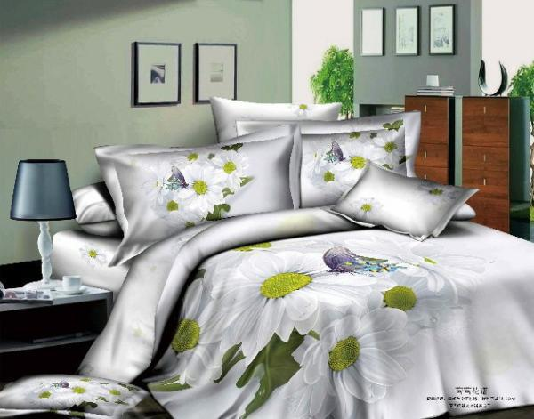 3d white daisy bedding set flower floral queen size purple butterfly quilt duvet covers bed in a. Black Bedroom Furniture Sets. Home Design Ideas