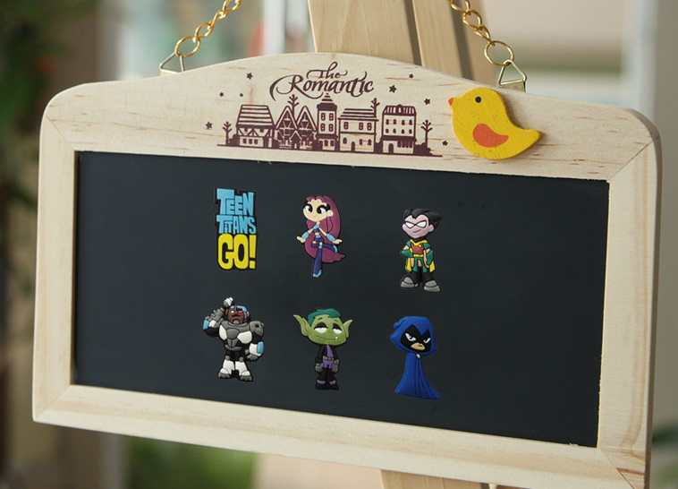 6pcs/set Teen Titans Go Blackboard Magnetic Stickers/PVC Magnets,Office School Supplies Free Shipping,Children Favor(China (Mainland))