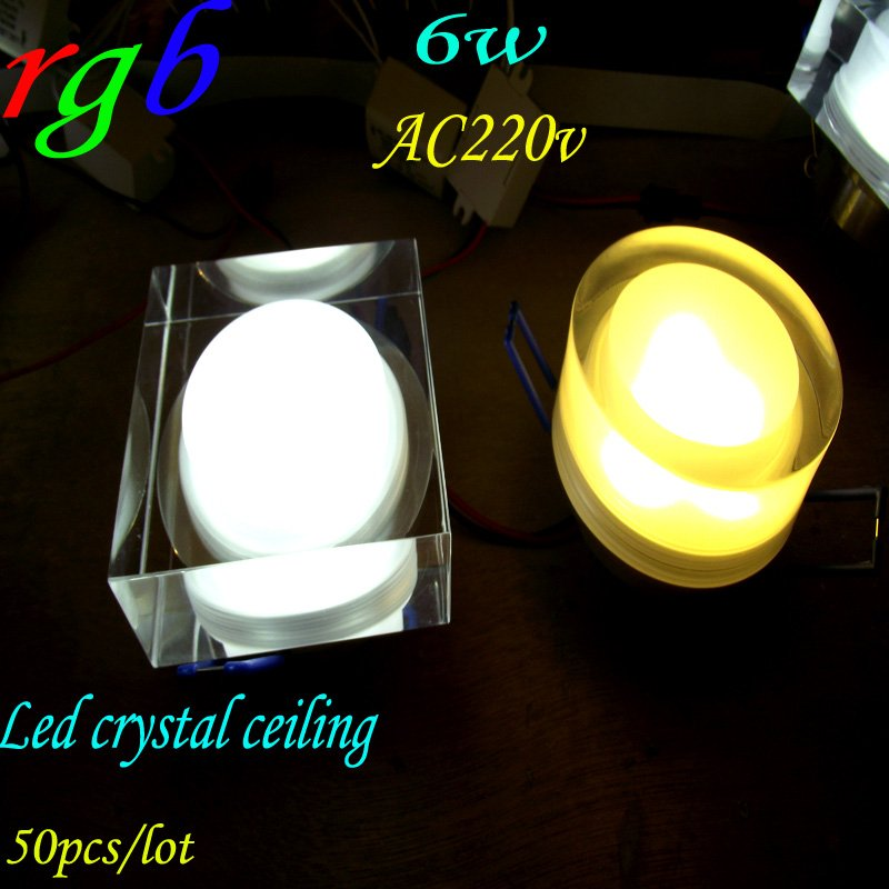 50pcs/lot FREE shipping 6*1 rgb square ceiling downlights AC220v 2pin modern crystal ceiling lamp Color variety best selling(China (Mainland))