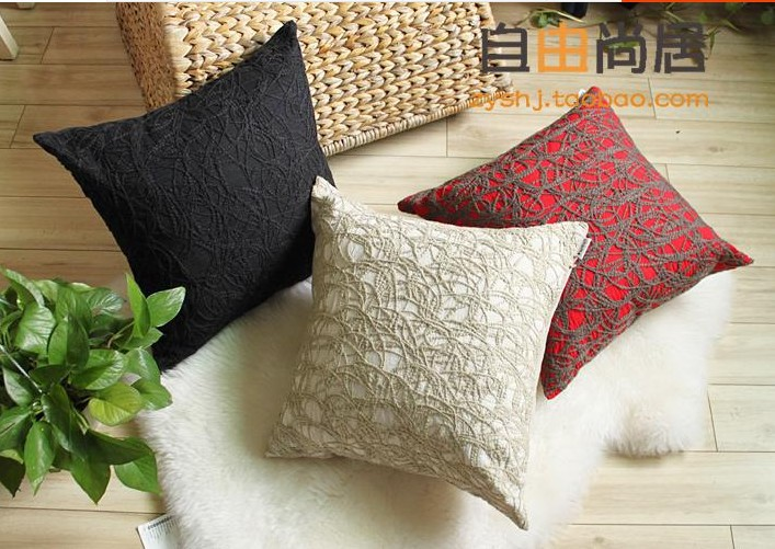45x45cm Wool Aubusson Bed Pillow Cushion Covers Chair Sofa Stool Cover beige cream - Home Decorative(China (Mainland))