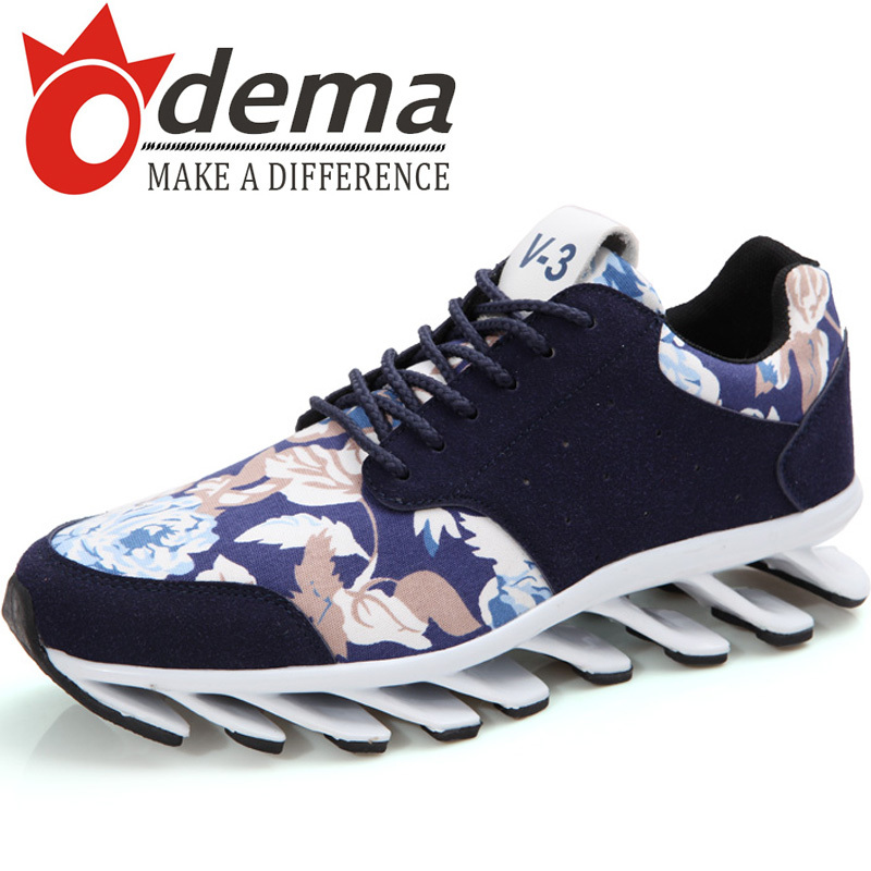 Фотография New Special Design Blade Sole Men Shoes Fashion Floral Printed PU Leather Man Shoes Lace-up Shoes
