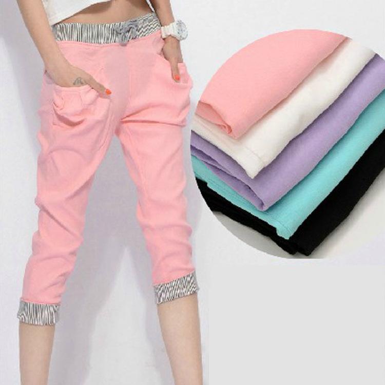 2014 Korean summer candy color elastic waist pant girl student casual harem pants(China (Mainland))
