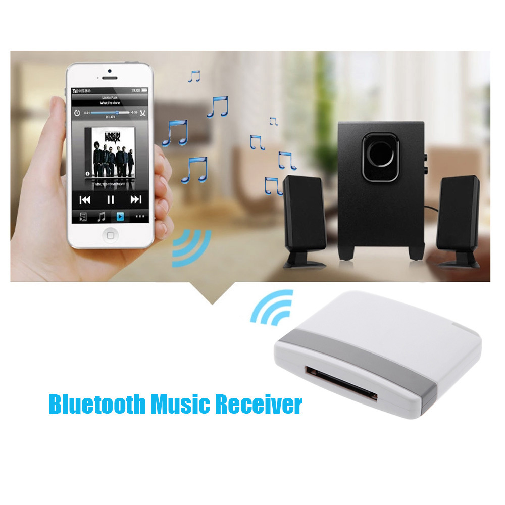 Audio Music Receiver Bluetooth A2DP Music Receiver Audio Adapter for iPad iPod iPhone 30Pin Dock OVC3860 Stereo Sound Chip(China (Mainland))