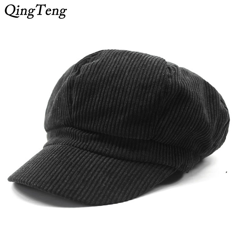 2017 New Corduroy Newsboy Caps Unisex Solid Warm Autumn Winter Fashion Painter Cap Women Men Vintage Octagonal Cap Casual Beret