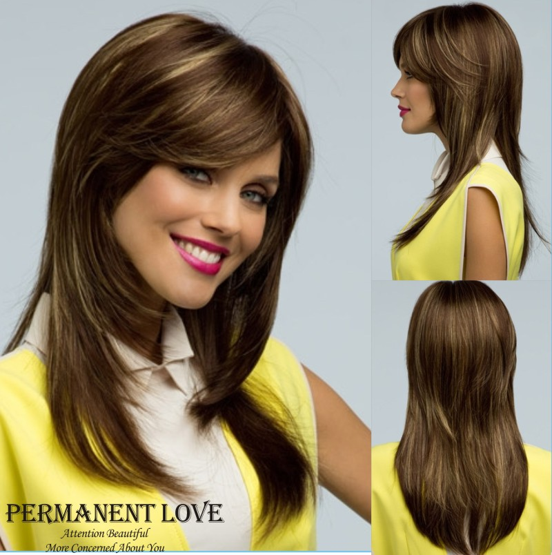 Straight hairstyle with side bangs