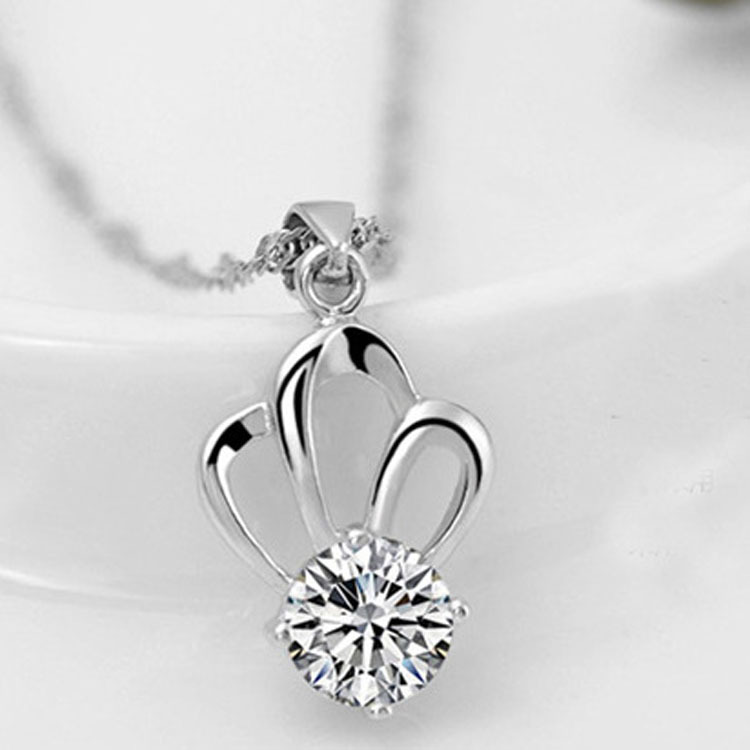 unique design AAA cubic zirconia, crown-shaped pendant necklace, jewelry, silver Plated - Jinghong Jewelry store