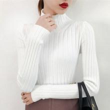 2019 белый свитер с высоким воротом и полу небольшой свежий женский короткий толстый тонкий плотный с длинными рукавами универсальные трикот...(China)