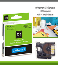 red ink 12mm label 45012 compatible d1 label tape cartridges with dymo d1 label printer
