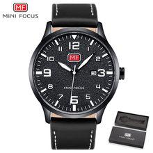 MINI FOCUS marque de luxe montre pour homme Quartz montre-bracelet hommes étanche bracelet en cuir marron montres de mode Relogio Masculino(China)
