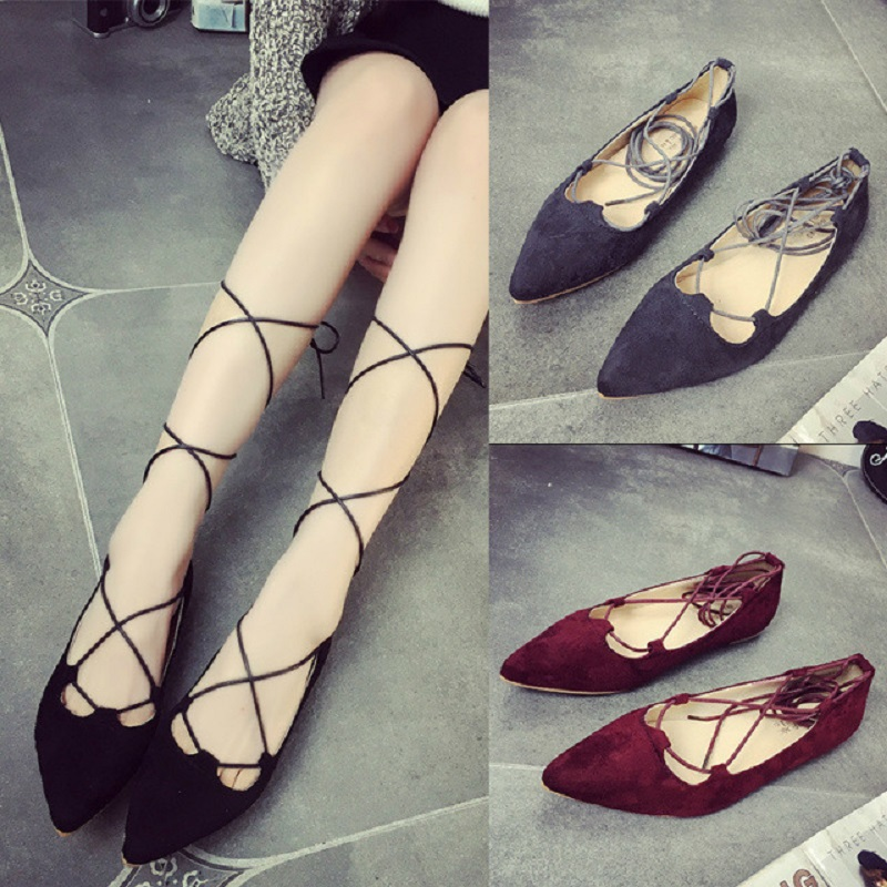 2016 Spring Autumn Ladies Shoes Ballet Flats Women Flat Shoes Woman Ballerinas Lace Up Pointed Toe Ribbons Casual Loafers Shoe(China (Mainland))