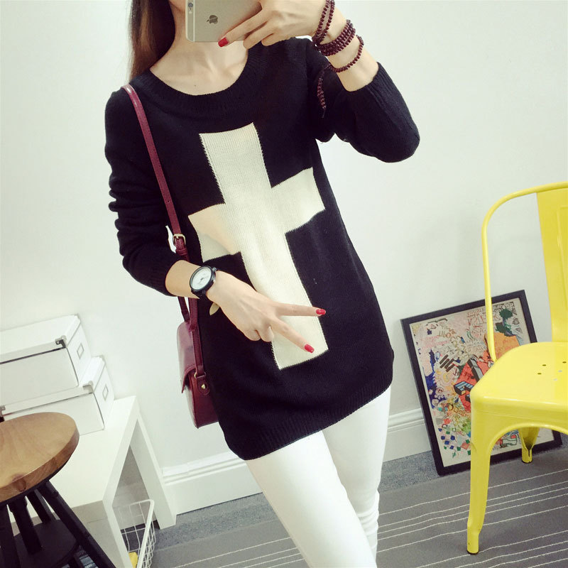 new product Korean long sleeve pullover canister round rendering sweater knitting unlined upper garment suit-dress Two color(China (Mainland))