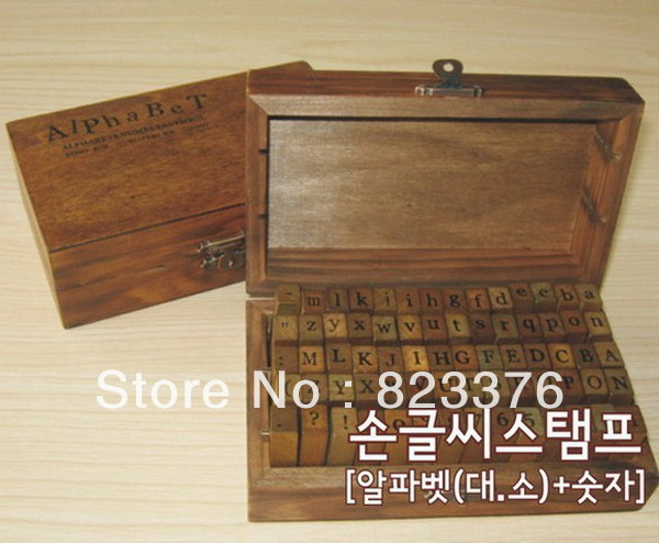 DHL Free shipping 25set 70pcs/set Number and Letter Wood stamp Set/Wooden Box/Multi-purpose stamp/DIY funny work(China (Mainland))