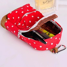2016 Summer Women Dress 2016 Fashion Cute Dot Case Stationery Students Mini School Bag Canvas Pen Pencil Bag()