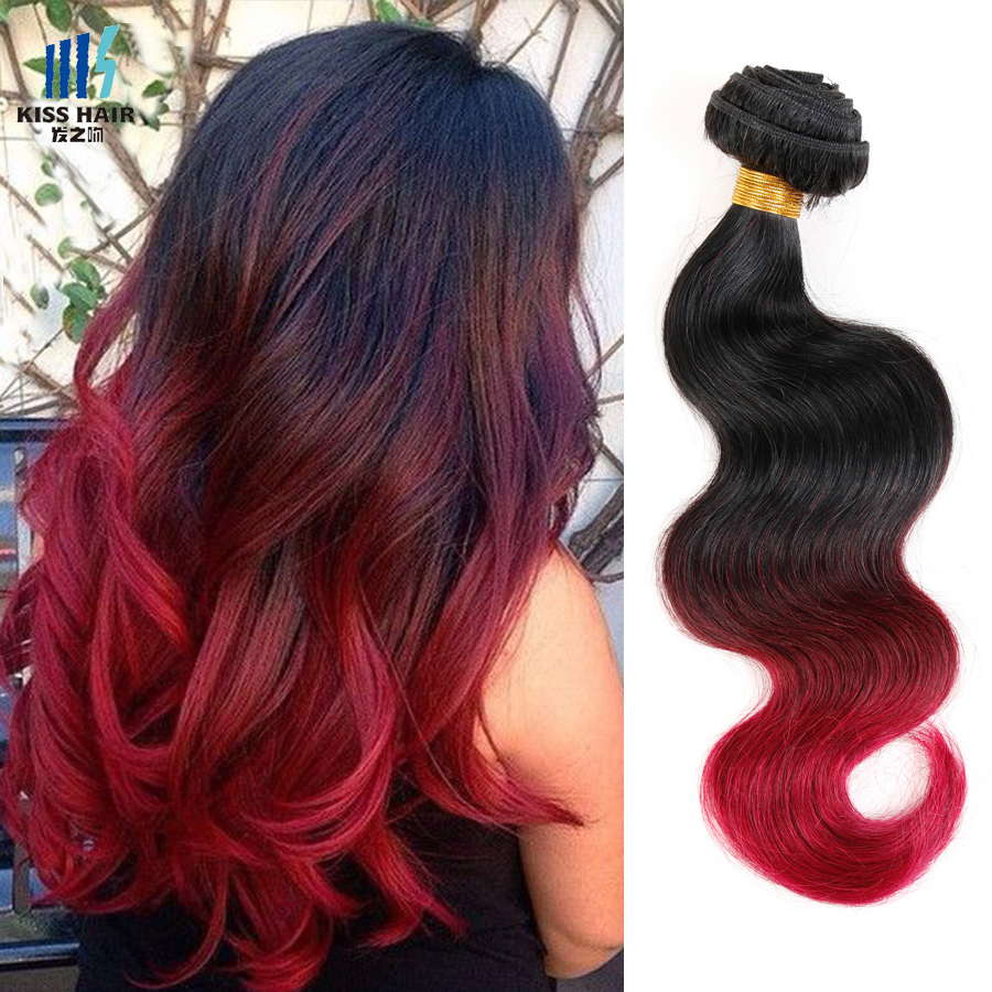 2 Bundle Indian Body Wave 12-26inch Ombre Human Hair T1b/99j/burgundy Ombre Weave Kisshair Fashion 3 tone Indian Virgin Hair