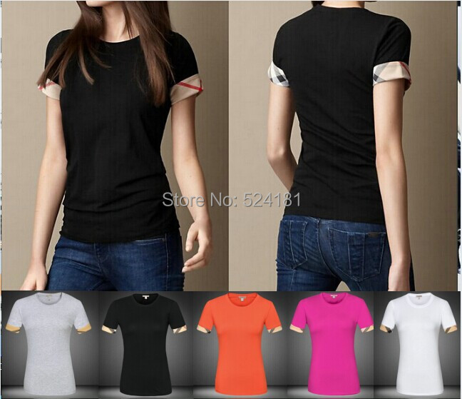 popular European American business leisure square edge styles women's short sleeve t-shirt ladies O neck - deli xie's store