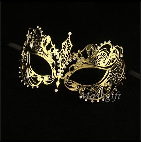 !! Luxurious Gold color Venetian Laser Cut Metal Mask Rhinestone Black Crystal mask - Chaozhou Xiangqiao Yuhan Craft Factory store