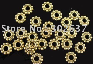 FREE SHIPPING 600pcs Antiqued gold plt flower beads caps A459G