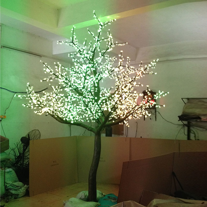 3.5Meter 3360leds Red-Green-Yellow 3Color changing artificial blue cherry blossom tree light for Christmas outdoor decoration(China (Mainland))