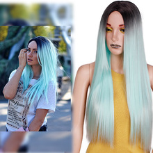 Ombre Blue Green Straight Long Synthetic Wigs For Women Black Pink Wigs 24  inch can be ce642f3d8a