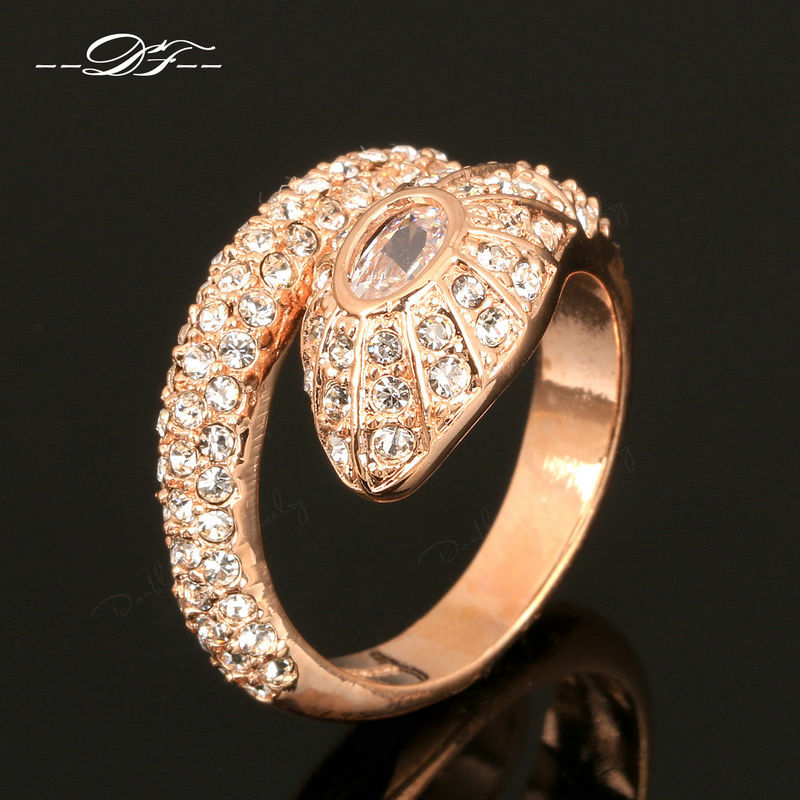 Hot Sale Luxury CZ Diamond Snake Finger Rings 18K Rose Gold Plated Fashion Brand Crystal Wedding Jewellery For Women DFR138(China (Mainland))