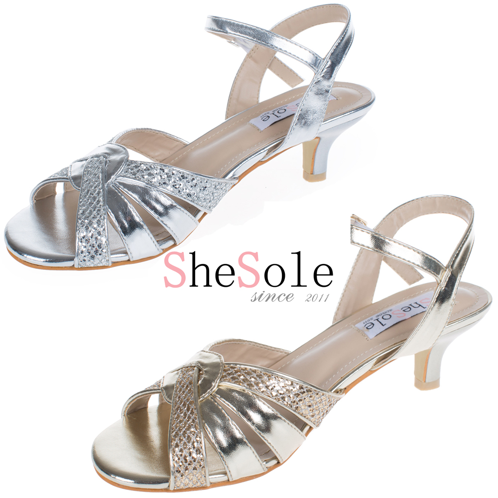 Silver Strappy Shoes Low Heel