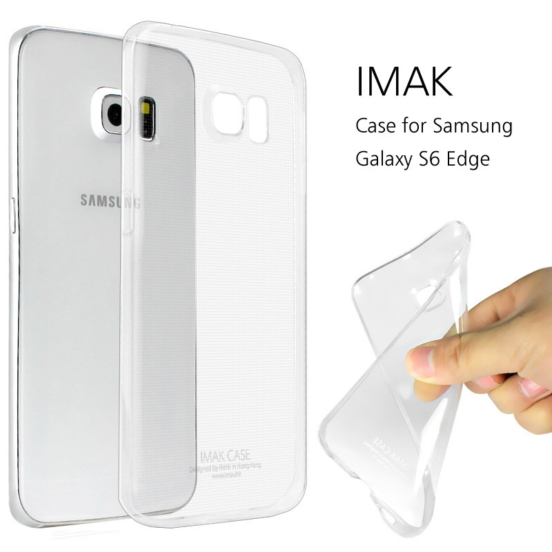 for Samsung Galaxy S6 Edge Case Original IMAK Ultra Thin Clear Cover Flexible 0.7MM TPU Premium Cover+Package+Screen Protector(China (Mainland))