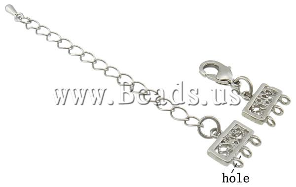 Free shipping!!!Brass Lobster Claw Cord Clasp,Designer Jewelry, with 2.8Inch extender chain, platinum color plated, nickel
