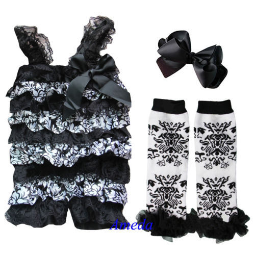 Girls clothing sets Newborn Baby Black Damask Lace Petti Romper Leg Warmer Bow Headband 3pcs 0-3Y(Hong Kong)