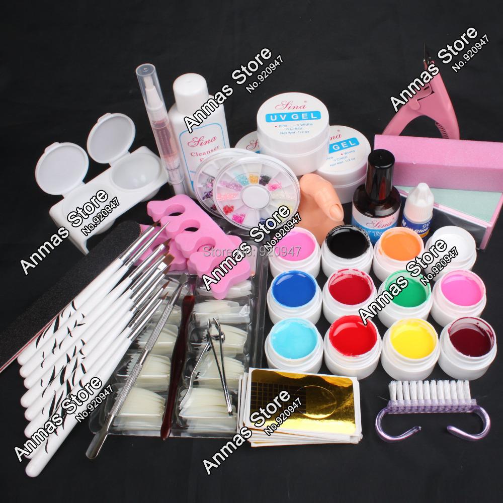 NEW Pro 12 Color UV Gel 8 Zebra Brush Nail Tips Nail Art Tool Kits Sets #43(China (Mainland))