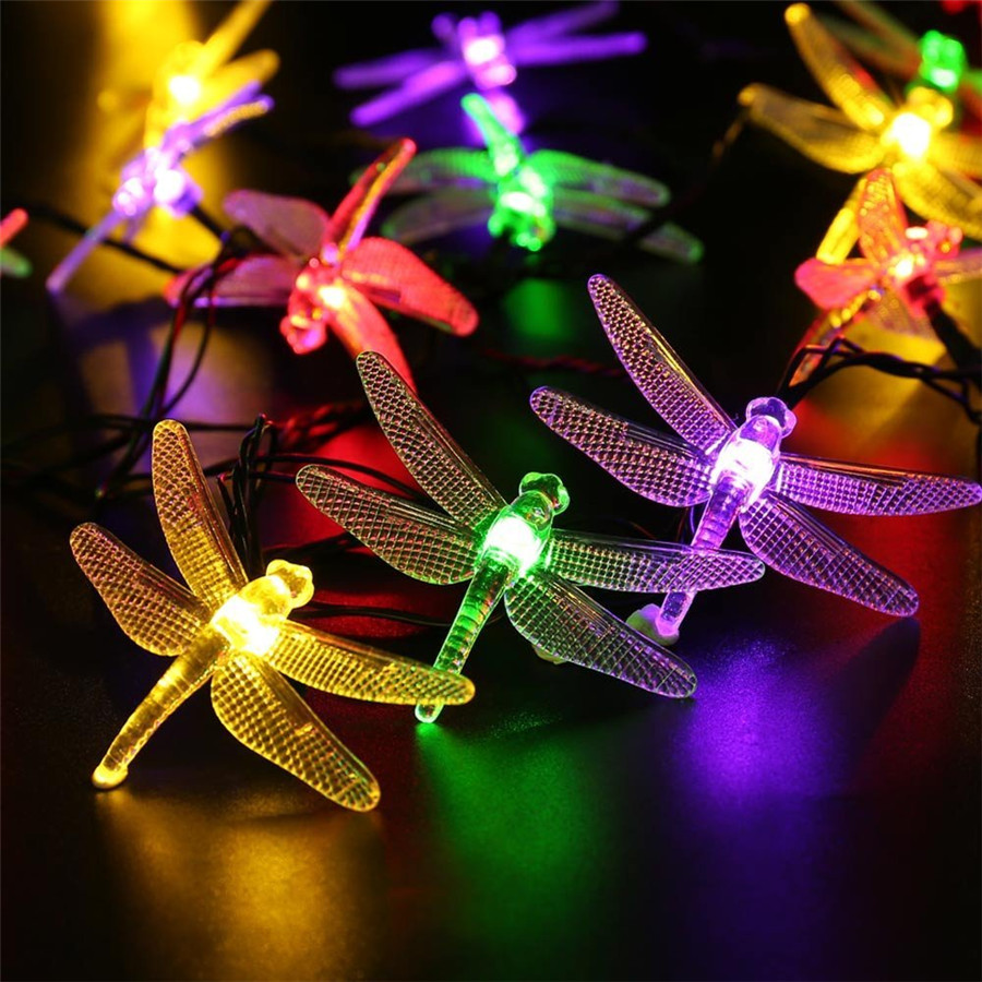 Solar Powered 5M LED String Garlands Lights Outdoor 20pcs Dragonfly Christmas String Light For Wedding Garden Party Yard(China (Mainland))