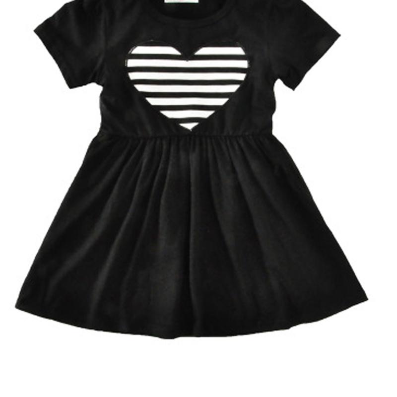 Children Summer Dresses Black Short Sleeve Cotton Clothing Black And White Stripes Hearts Cute Children Dress Popular Kids Gifts(China (Mainland))